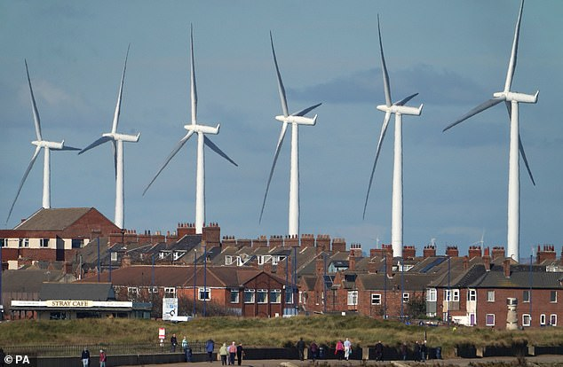 The Teesside Wind Farm near the mouth of the River Tees off the North Yorkshire coast