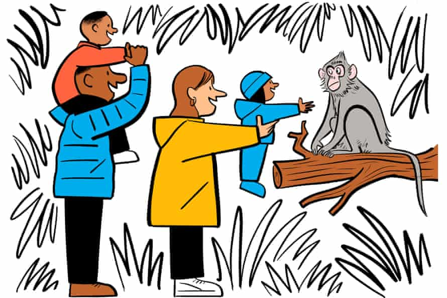 An illustration of a family visiting a zoo