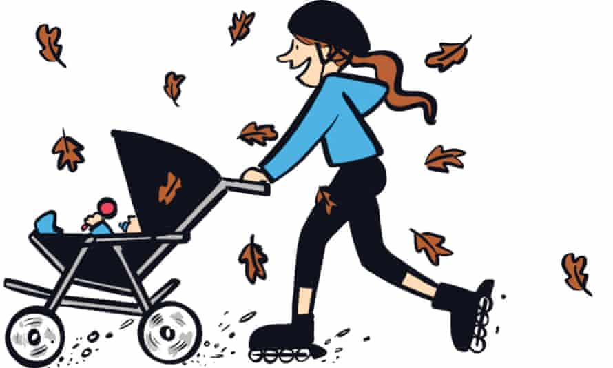 An illustration of a person rollerblading while pushing an infant in a stroller