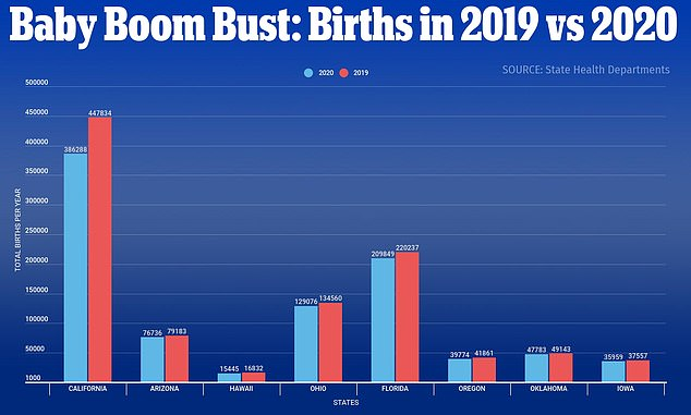 Eight states with complete data showered there a total of 1,027,207 births in 2019 compared to 941,040 babies born in 2020 - meaning there were 86,167 fewer births