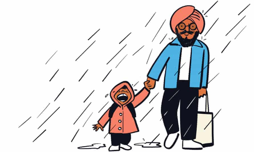 An illustration of a person walking in the rain with a crying child