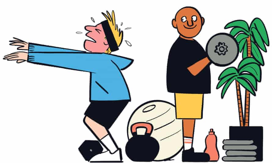 An illustration of two people working out at home