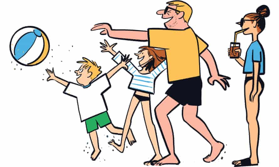 An illustration of a family playing with a beachball