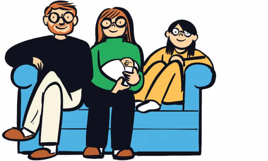 An illustration of a family, including a baby, on a sofa
