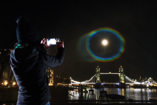 Editorial Use Only. Strictly Embargoed Until 00:01 on 31/03/2021 Mandatory Credit: Photo by PinPep/REX (11837348b) A rare Moonbow phenomenon, recreated by OnePlus for the OnePlus 9 Series, co-developed with Hasselblad (the makers of the camera that captured the first picture on the moon). Designed to showcase the true colour capabilities of the handset, the installation launches OnePlus' True Colour campaign, where followers can win the trip of a lifetime by sharing authentic images of their locality. See OnePlus.com/uk for details. OnePlus Moonbow, London, UK - 30 Mar 2021