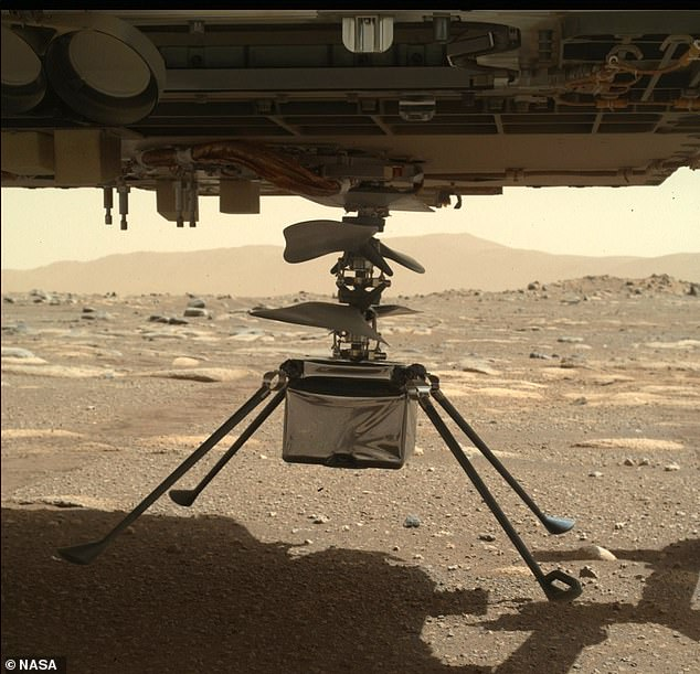 The agency says that now all four legs are down, Perseverance will be able to begin the process of 'cutting it free' and placing it on Martian soil