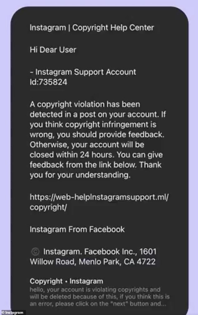 The scam message reads: 'A copyright violation has been detected in a post on your account. If you think copyright infringement is wrong, you should provide feedback. Otherwise, your account will be closed within 24 hours'