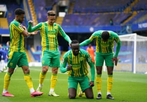 Mbaye Diagne celebrates after scoring a fourth for the Throstles.
