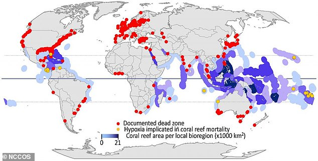Separate surveys show hundreds of 'dead zones' currently worldwide where life cannot survive due to the same reason that sparked the Devonian extinction and experts say 'it's happening at a pace that's much faster than what was happening during the Late Devonian'