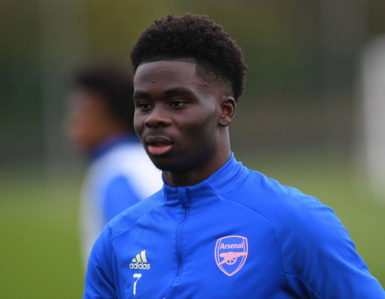 Bukayo Saka of Arsenal during a training session at London Colney on March 20, 2021 in St Albans, England.