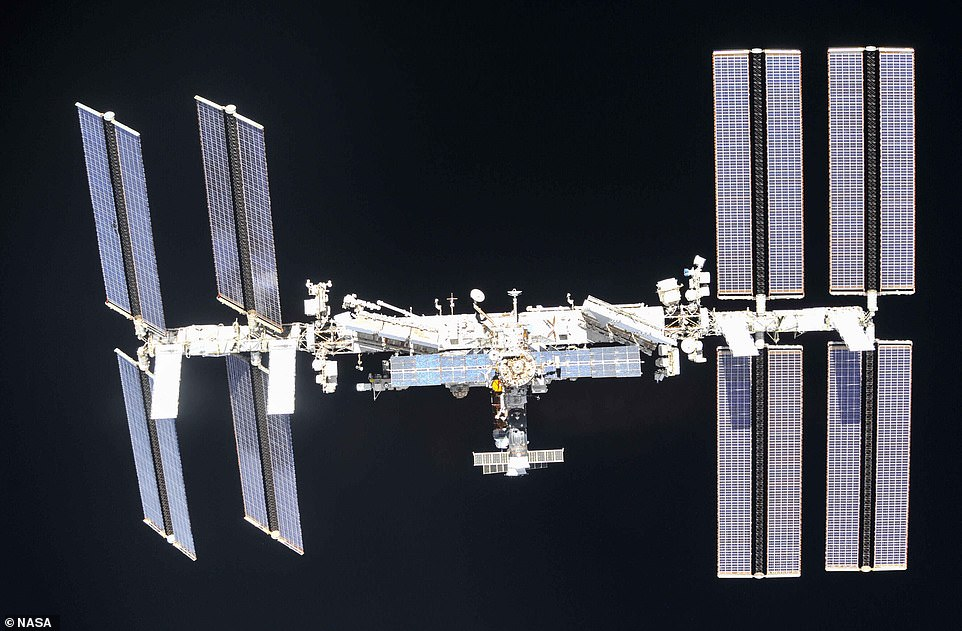 In April last year he captured high definition images tracking the space station's journey in front of the Sun. The ISS is the largest object ever put into space by humans and measures 357 feet long