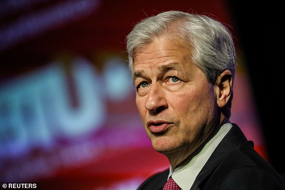 Positive outlook: JP Morgan chief Jamie Dimon (pictured) said it was possible the US would see 'fast and sustained growth
