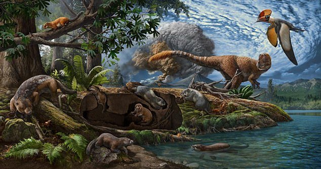The dioramic landscape illustrates the Early Cretaceous Jehol Biota - a famous collection of 130 million-year-old fossils from the Cretaceous Period