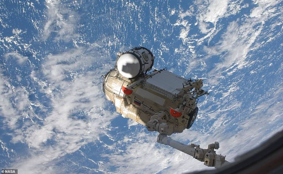 They will orbit the Earth twice before making the trip to dock with the Rassvet module on the station, a nearly 20ft long 'mini research module', launched in 2010