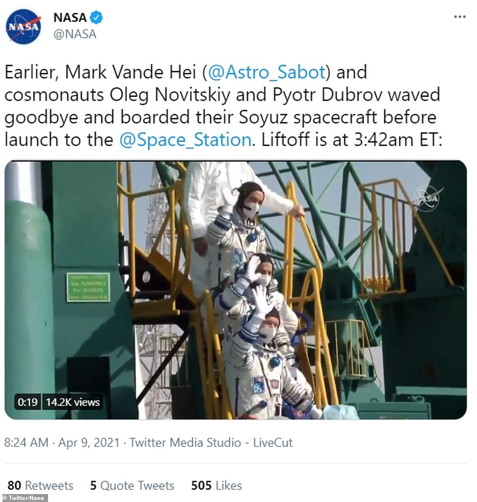 NASA tweeted footage of the three men waving goodbye as they boarded theSoyuz MS-18 rocket ahead of the take-off to the ISS