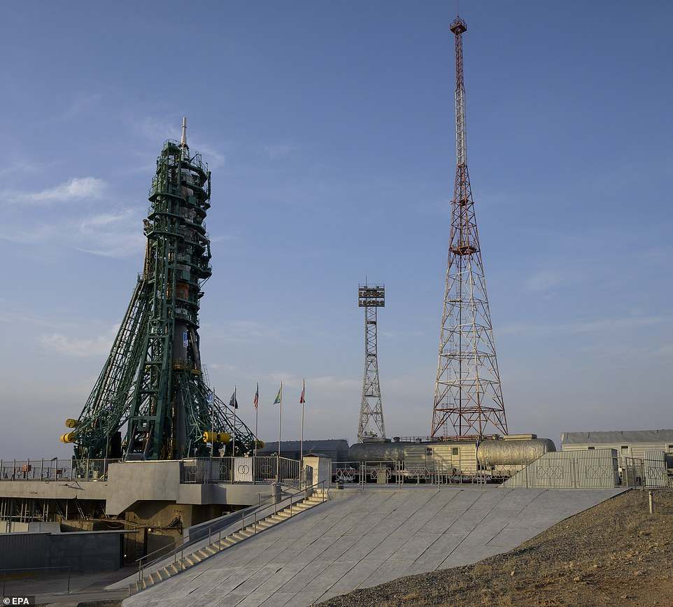 The Soyuz launch pad at site 31, at the Baikonur Cosmodrome in Kazakhstan, April 8. Expedition 65 NASA astronaut Mark Vande Hei, Roscosmos cosmonauts Pyotr Dubrov and Novitskiy are scheduled to launch to the International Space Station aboard the Soyuz MS-18 spacecraft on April 9