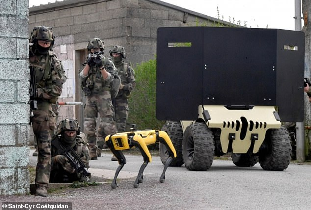Spot is one of a number of robots being tested by French military students, according to French news website Ouest France