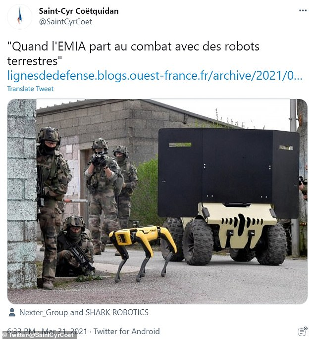 'When EMIA goes into battle with ground robots': France's military school, the Saint-Cyr, tweeted a picture of soldiers with Spot