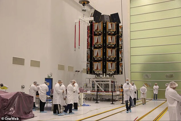 The close call was due to OneWeb's (pictured) recent launch on March 30th, which sent 36 satellites into orbit and had to pass through a sea of Starlinks to hit its targeted orbit