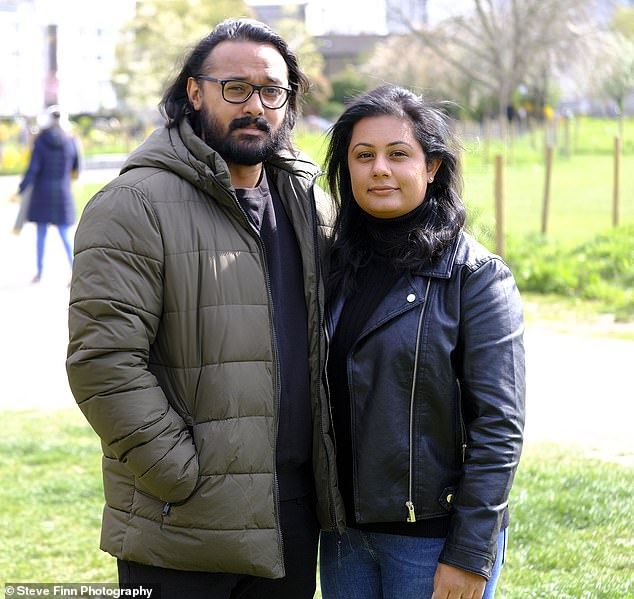 Mohammed Choudhury (pictured with his wife Alia)has told how a freak reaction to the Astra-Zeneca Covid jab left him in intensive care with blood clots, fearing for his life