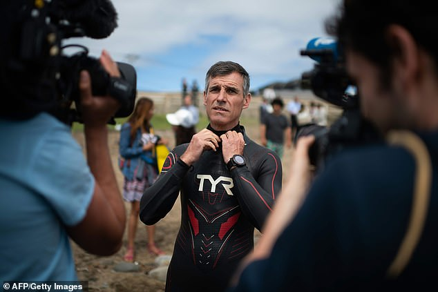 French marathon swimmer Benoit Lecomte prepares himself in Choshi, Chiba prefecture on June 5, 2018 as he takes the start of his attempt of swimming across the Pacific Ocean