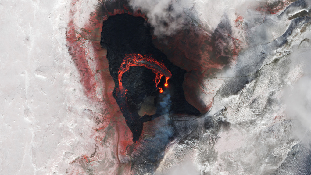 A volcano erupts in Iceland in a picture from an Earth-orbiting satellite. (Photo by Planet Labs)