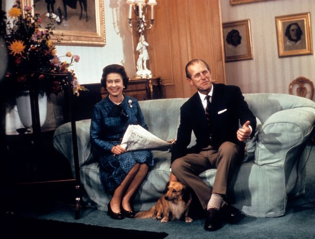 Prince Philip with the Queen at Balmoral in 1976
