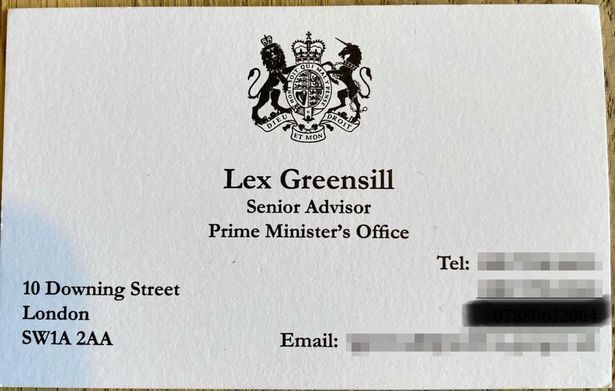Lex Greensill's business card when he was in No10
