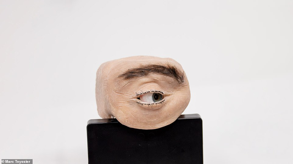At first glance, it looks scarily realistic, right down to the wrinkles in the skin, the individual hairs that make up the eyebrows and the red vessels over the white of the eye