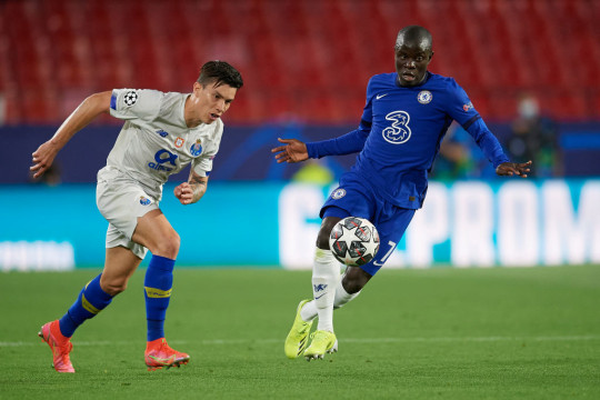N'Golo Kante of Chelsea in action during the UEFA Champions League Quarter Final Second Leg match between Chelsea FC and FC Porto at Estadio Ramon Sanchez Pizjuan on April 13, 2021 in Seville, Spain. Sporting stadiums around Spain remain under strict restrictions due to the Coronavirus Pandemic as Government social distancing laws prohibit fans inside venues resulting in games being played behind closed doors.