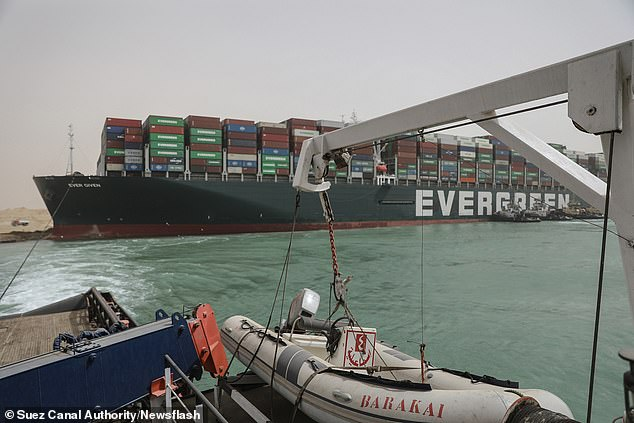 The MV Ever Given was seized yesterday due to its failure to pay $900 million in compensation. It got stuck diagonally, holding up an estimated $9.6 billion worth of cargo each day