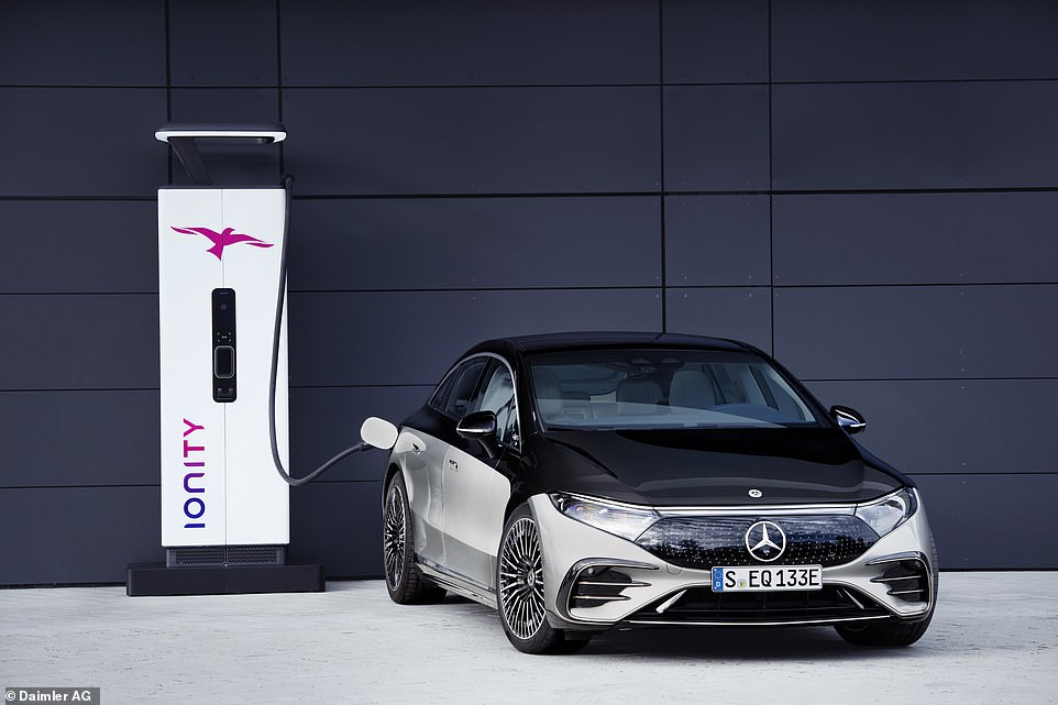 The EQS has a 200 kW DC rapid charger. That means it can be charged to 80% battery capacity in around 30 minutes, and give a 186 mile range boost in 15 minutes