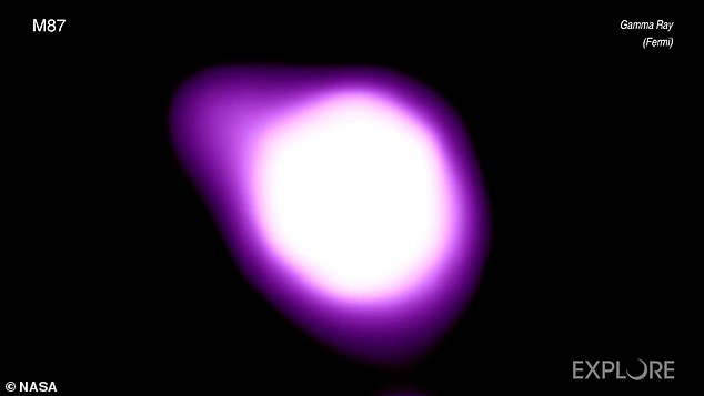Using a number of telescopes, the giant team was able to observe M87's black hole with different techniques. One telescope detected the cosmic giant in visible light, another ultraviolet light and the final shows it shot in gamma rays(pictured)