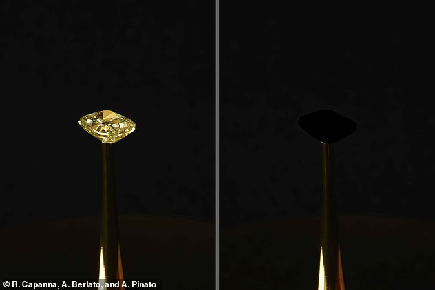 'None more black': Researchers from Massachusetts Institute of Technology (MIT) covered a £1.6 million diamond (pictured before and after) with the substance in a bid to prove its blackness
