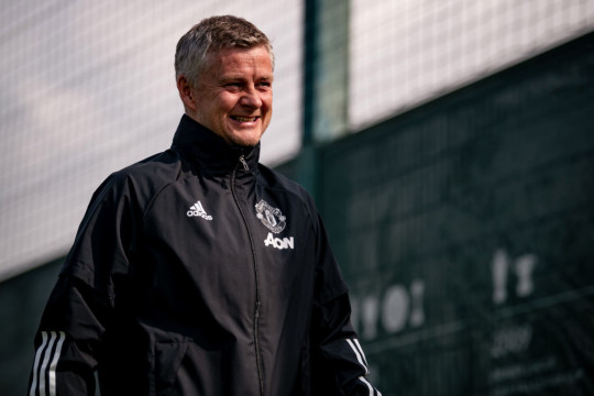 Manager Ole Gunnar Solskjaer of Manchester United in action during a first team training session at Aon Training Complex on April 14, 2021 in Manchester, England.