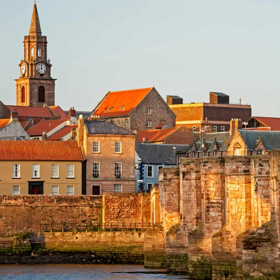 Town and River Tweed, Berwick-upon-Tweed, England, United Kingdom, on a sunny day.
