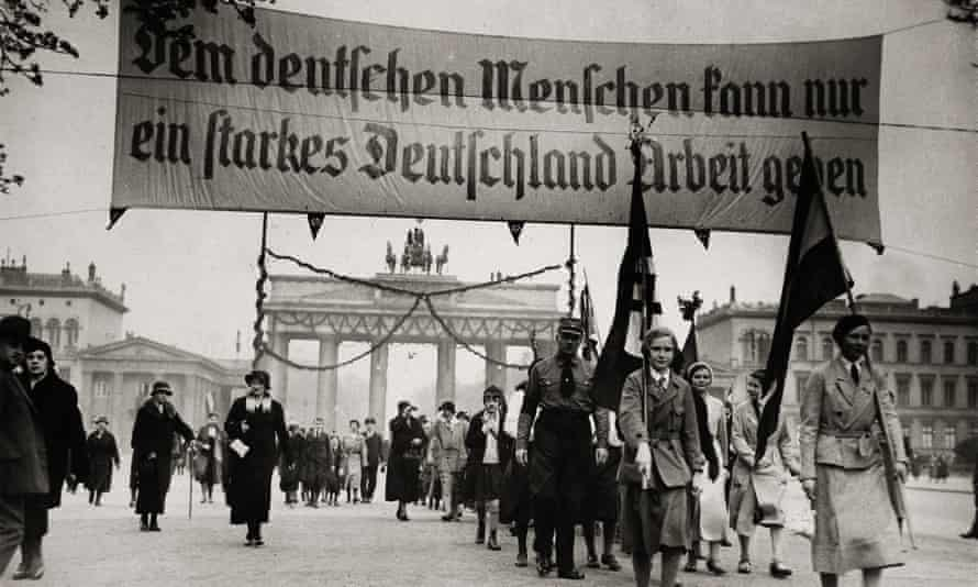A National socialist demonstration in Berlin, in front of the Brandenburger Gate circa 1931.