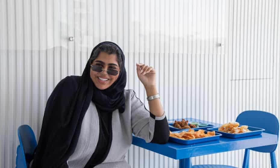 Influencer Taim Al Falasi at her restaurant Meet, Jumeirah's branch, Dubai, March 2021