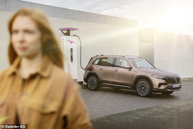 Using a DC charging unit up to 100kW, charging time to 80 per cent is then just over 30 minutes, says Mercedes