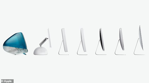 The seven new colors for the iMac may have stolen the show including green, yellow, orange, pink, purple, blue and silver - all of which mirrors Apple's iconic 1998 iMac G3 (left)