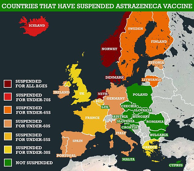 Pictured: A map showing countries that have either suspended the AstraZeneca vaccine, or restricted its use on various age groups