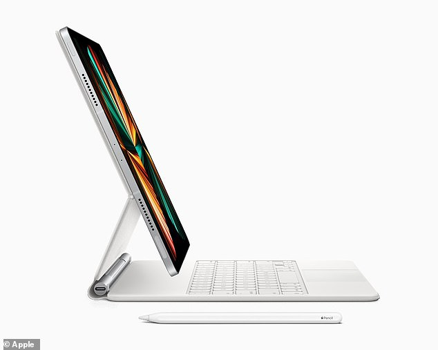 The iPad Pro also supports the Apple Pencil and the Smart Keyboard Folio, as well as the Magic Keyboard – all of which are available in white