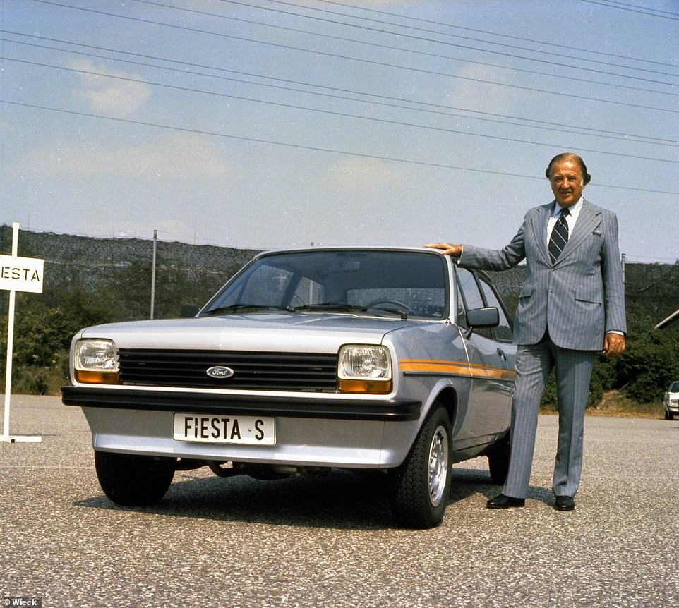 Henry Ford II pictured here in 1976 stood alongside a Fiesta S.It was critical that Henry Ford II was available for dealer and supplier visits in the UK in the eighties, hence his need for a bespoke Capri during that time