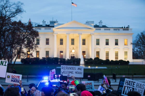 People protested President Donald J. Trump's travel ban outside the White House in 2017. New legislation would curb a president's ability to enact similar orders.