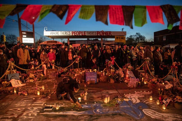 Protesters in Minneapolis celebrate the guilty verdict in the trial of Derek Chauvin on Tuesday, at the memorial where Mr. Chauvin murdered George Floyd.