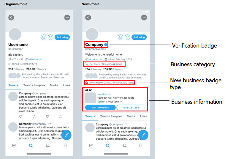 Twitter business profiles