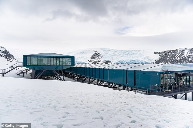 Scientists stationed in Antarctica reported a steady decline in positive emotions like satisfaction, enthusiasm and awe, from the start of the mission to its completion. Pictured: a research station on King George Island, Antarctica