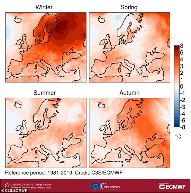 Surface air temperature anomalies for winter, spring, summer and autumn 2020, relative to the respective seasonal average for the 1981-2010 reference period. Winter values relate to December 2019 to February 2020