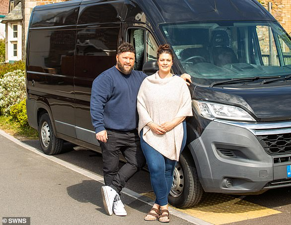 On the road: Lee Hulcoop and Sarah Symes bought their second van last year and have made it their lockdown project to renovate it