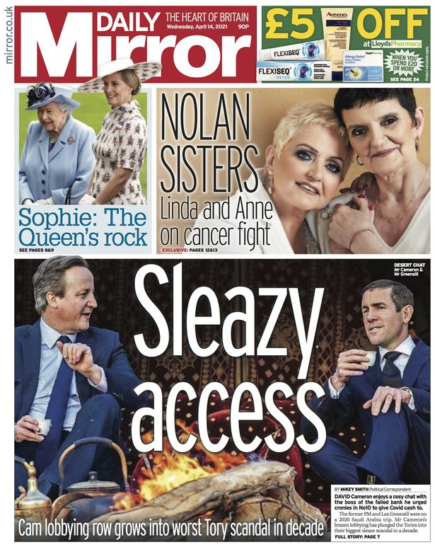 The Mirror on Cameron and Greensill